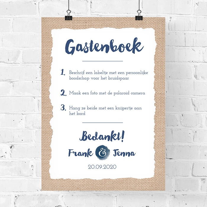 Verbazingwekkend Poster gastenboek indigo eco | Weddingdeco.nl WR-23