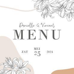Lily romance menukaart vierkant enkel
