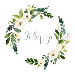 Witte bloemen RSVP kaart vierkant enkel