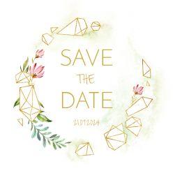 Geometric floral save the date kaart vierkant enkel