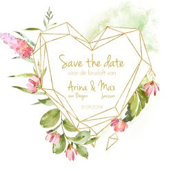 Geometric floral save the date kaart vierkant hart