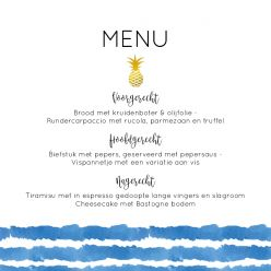 Indigo Summer menukaart vierkant enkel