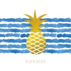 Indigo Summer label kaart vierkant enkel ananas