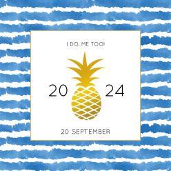 Indigo Summer label kaart vierkant enkel kader