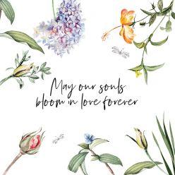 Love Blooms label vierkant enkel qoute