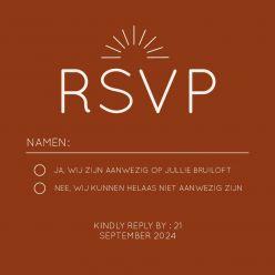 Rustic love RSVP kaart vierkant enkel
