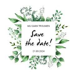 Touch of nature save the date kaart vierkant enkel