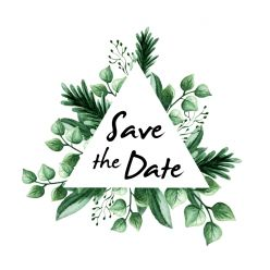 Touch of nature save the date kaart vierkant driehoek