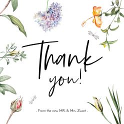 Love Blooms bedankkaart vierkant enkel