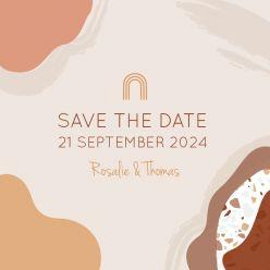 Rustic love save the date vierkant enkel