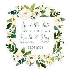 Witte bloemen save the date kaart vierkant enkel