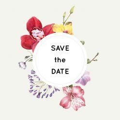 Wild flowers save the date kaart vierkant enkel