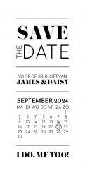 Modern Paper save the date kaart panorama staand kalender