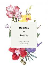 Wild flowers save the date kaart staand enkel