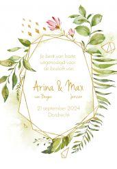 Geometric floral trouwkaart staand enkel