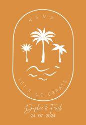 Summer glow save the date kaart staand enkel palmboom
