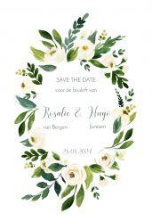 Witte bloemen save the date kaart staand enkel