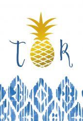 Indigo Summer trouwkaart staand enkel ananas