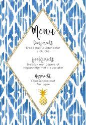 Indigo Summer menukaart staand enkel ruit