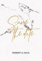 Marble chique gold save the date kaart staand enkel