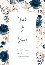 Elegance breeze save the date kaart staand bloemen