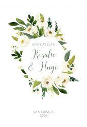 Witte bloemen trouwkaart staand enkel