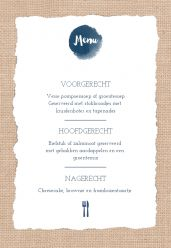Indigo eco menukaart staand enkel