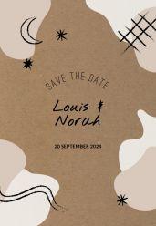 Cosmic love save the date kaart staand enkel