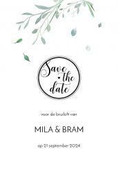 Modern elegance save the date kaart staand enkel