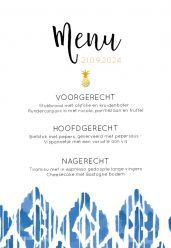 Indigo Summer menukaart staand enkel