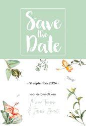 Love Blooms save the date kaart staand enkel