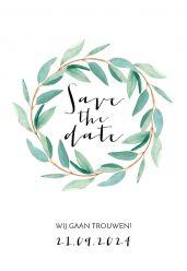 Lovely eucalyptus save the date kaart staand enkel
