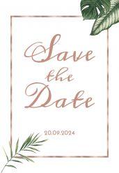 Beautiful Botanics save the date kaart staand enkel