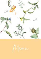 Love Blooms menukaart staand enkel geel