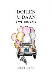 Watercolor festival save the date kaart staand enkel