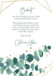 Golden green bedankkaart staand enkel