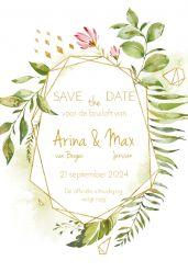 Geometric floral save the date kaart staand enkel