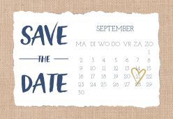 Indigo eco save the date kaart liggend enkel