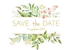 Geometric floral save the date kaart liggend enkel