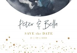 To the moon save the date kaart liggend enkel