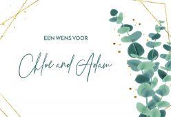Golden green wedding wishes kaart liggend geometrisch