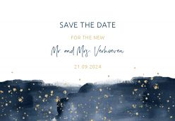 Elegance breeze save the date kaart liggend enkel