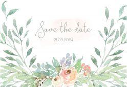 Botanical romance save the date kaart liggend enkel