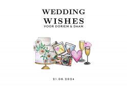 Watercolor festival wedding wishes kaart liggend enkel