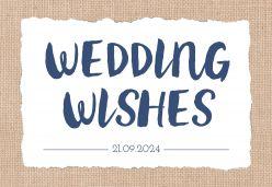Indigo eco wedding wishes kaart liggend typografie