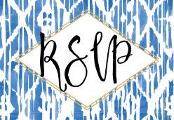 Indigo summer RSVP kaart liggend enkel