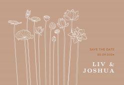 Lotus save the date kaart liggend enkel