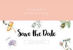 Love Blooms save the date kaart liggend enkel
