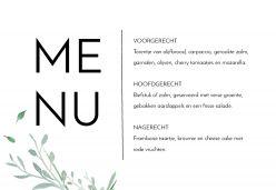 Modern elegance menukaart liggend enkel