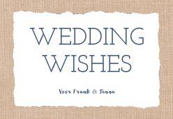 Indigo eco wedding wishes kaart liggend enkel